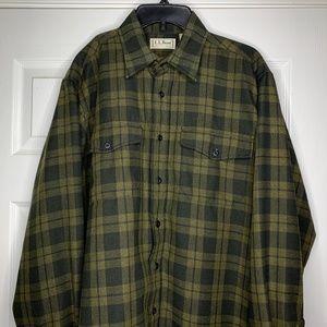 LL BEAN Thick Shirt Green Plaid Size Large Tall